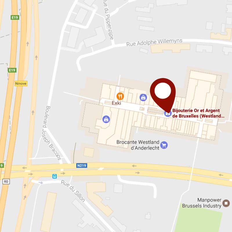 Situer la bijouterie Or & Argent de Bruxelles