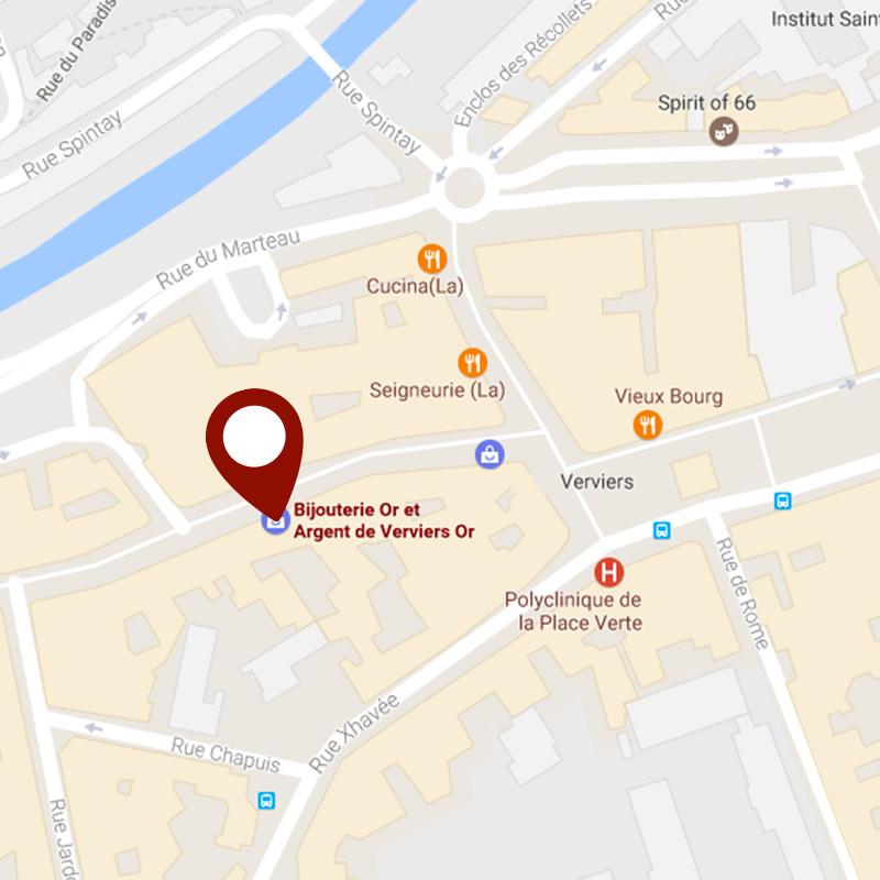 Situer la bijouterie Or & Argent de Verviers